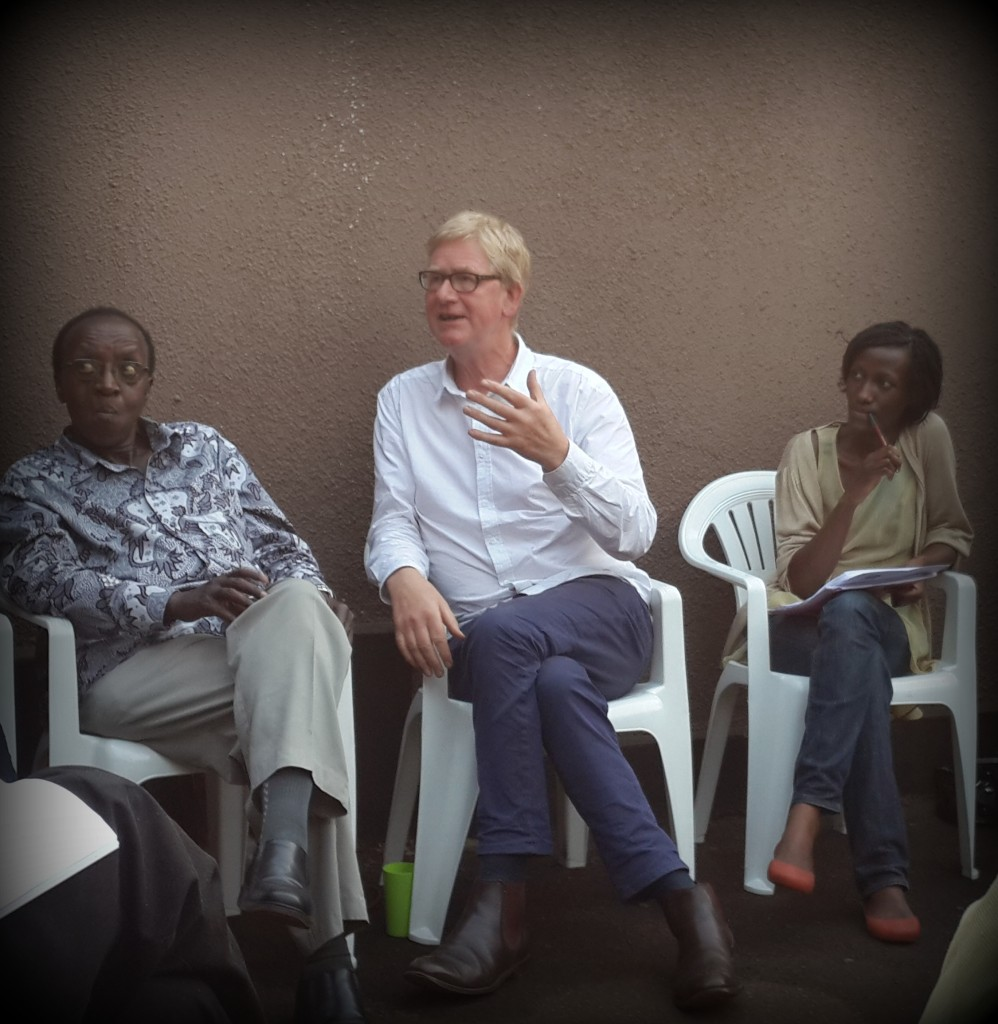 L-R: Ugandan writer Prof. Arthur Gakwandi, David Godwin and Ugandan writer/Femrite member, Davina Kawuma at the Monday Femrite Readers/Writers Club