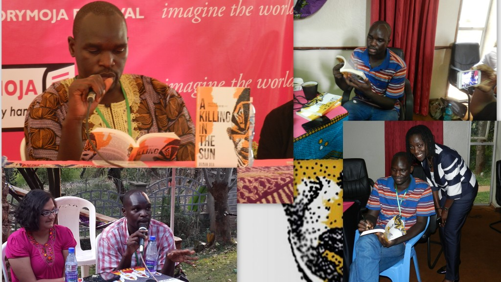 Dilman Dila launched A Killing In The Sun anthology at this year's Storymoja Festival in Nairobi. Auma Obama, patron of Storymoja, was the first to buy a copy of the anthology.