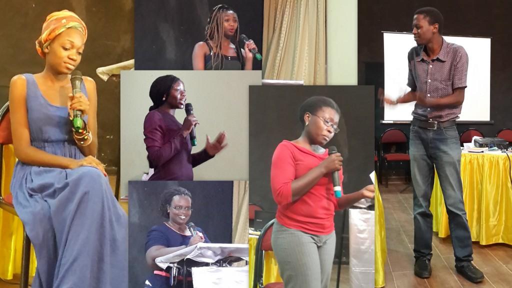 Clockwise: Lydia Nyachiro (TZ), Saba (Sudan/Kenya), Peter Kaggayi (Ug), Sophie B Alal (Ug), Dorothie Ayebazibwe (Ug) and Nakisanze Segawa