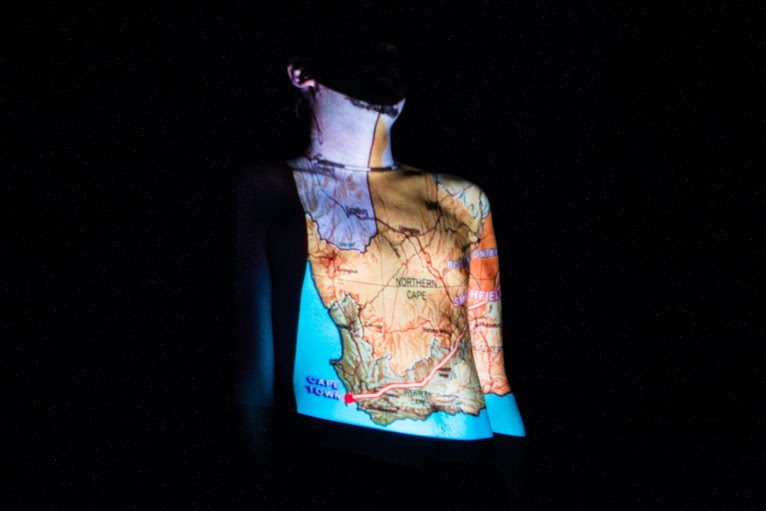 A map of South Africa projected onto Nick's torso.  Photo by Daniel Gilbert Bwette for #KITF2014