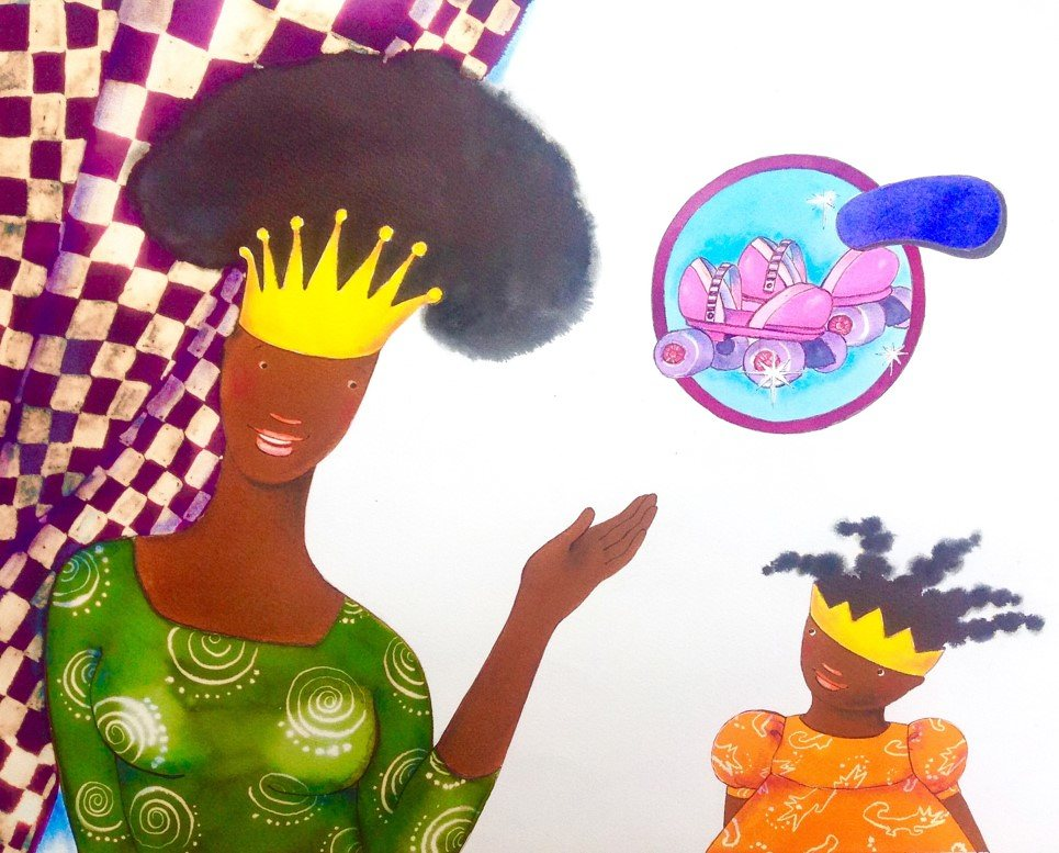 Princess Arabella, and her mother, complete with natural hair styles. Illustration: Mylo Freeman via http://www.theguardian.com/